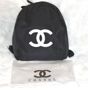 Chanel Black Nylon Backpack VIP Gift White CC